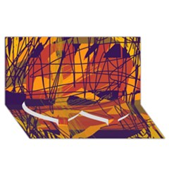 Orange high art Twin Heart Bottom 3D Greeting Card (8x4)