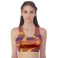 Orange high art Sports Bra
