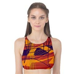 Orange high art Tank Bikini Top