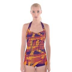 Orange high art Boyleg Halter Swimsuit