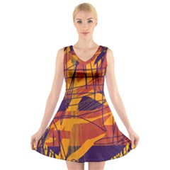 Orange high art V-Neck Sleeveless Skater Dress