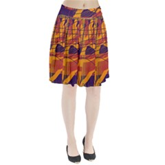 Orange high art Pleated Skirt