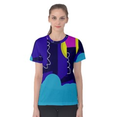 Walking on the clouds  Women s Cotton Tee