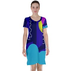 Walking on the clouds  Short Sleeve Nightdress