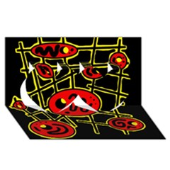Red and yellow hot design Twin Hearts 3D Greeting Card (8x4)