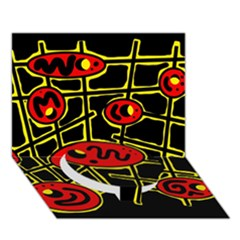 Red and yellow hot design Circle Bottom 3D Greeting Card (7x5)