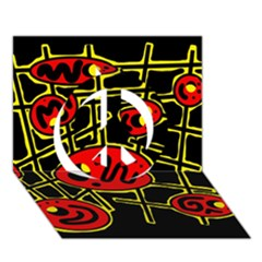 Red and yellow hot design Peace Sign 3D Greeting Card (7x5)
