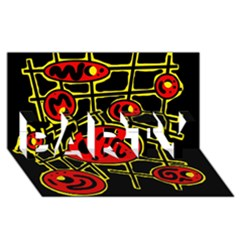 Red and yellow hot design PARTY 3D Greeting Card (8x4)