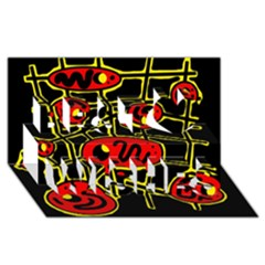 Red and yellow hot design Best Wish 3D Greeting Card (8x4)