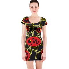 Red and yellow hot design Short Sleeve Bodycon Dress