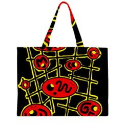 Red And Yellow Hot Design Zipper Large Tote Bag