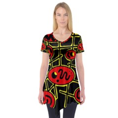 Red and yellow hot design Short Sleeve Tunic