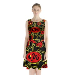 Red And Yellow Hot Design Sleeveless Chiffon Waist Tie Dress