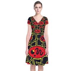 Red and yellow hot design Short Sleeve Front Wrap Dress