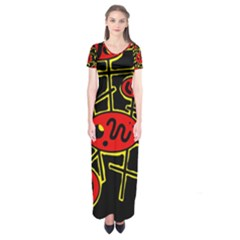 Red and yellow hot design Short Sleeve Maxi Dress