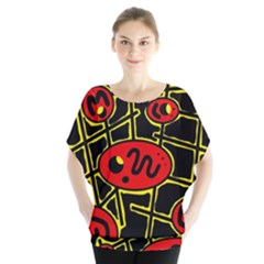 Red and yellow hot design Blouse