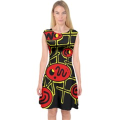 Red and yellow hot design Capsleeve Midi Dress