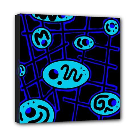 Blue decorative design Mini Canvas 8  x 8