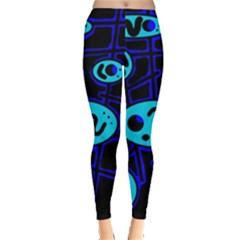 Blue decorative design Leggings