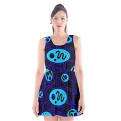 Blue Decorative Design Scoop Neck Skater Dress