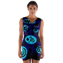 Blue Decorative Design Wrap Front Bodycon Dress