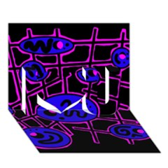 Blue And Magenta Abstraction I Love You 3d Greeting Card (7x5)
