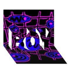 Blue and magenta abstraction BOY 3D Greeting Card (7x5)