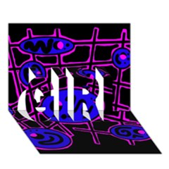 Blue and magenta abstraction GIRL 3D Greeting Card (7x5)