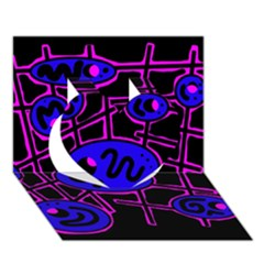 Blue and magenta abstraction Heart 3D Greeting Card (7x5)