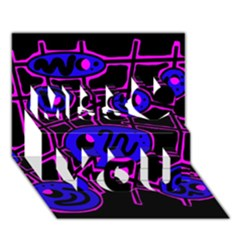 Blue and magenta abstraction Miss You 3D Greeting Card (7x5)