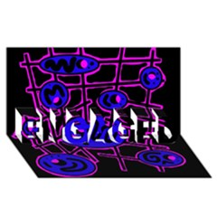 Blue and magenta abstraction ENGAGED 3D Greeting Card (8x4)