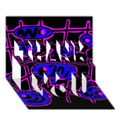 Blue and magenta abstraction THANK YOU 3D Greeting Card (7x5)