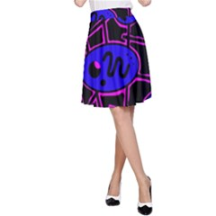 Blue and magenta abstraction A-Line Skirt