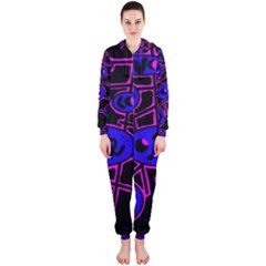 Blue and magenta abstraction Hooded Jumpsuit (Ladies)