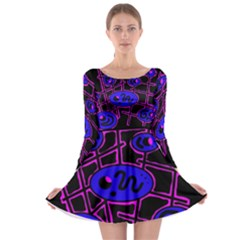Blue and magenta abstraction Long Sleeve Skater Dress