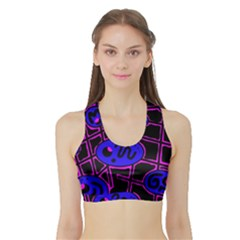 Blue and magenta abstraction Sports Bra with Border