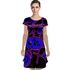 Blue and magenta abstraction Cap Sleeve Nightdress
