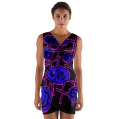 Blue and magenta abstraction Wrap Front Bodycon Dress