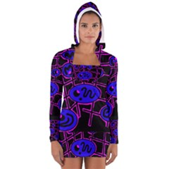Blue And Magenta Abstraction Women s Long Sleeve Hooded T Shirt