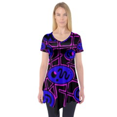 Blue and magenta abstraction Short Sleeve Tunic