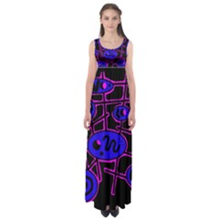 Blue and magenta abstraction Empire Waist Maxi Dress