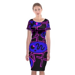 Blue and magenta abstraction Classic Short Sleeve Midi Dress