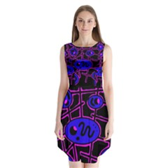 Blue And Magenta Abstraction Sleeveless Chiffon Dress