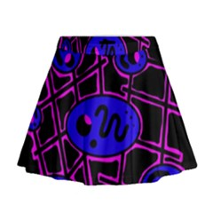Blue and magenta abstraction Mini Flare Skirt