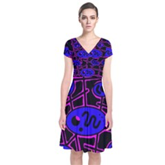 Blue And Magenta Abstraction Short Sleeve Front Wrap Dress