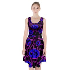 Blue And Magenta Abstraction Racerback Midi Dress