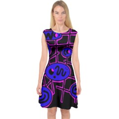Blue And Magenta Abstraction Capsleeve Midi Dress