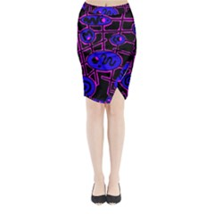 Blue And Magenta Abstraction Midi Wrap Pencil Skirt