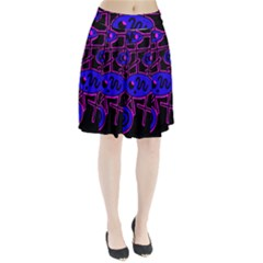 Blue and magenta abstraction Pleated Skirt