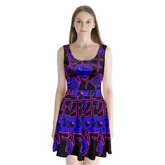 Blue and magenta abstraction Split Back Mini Dress